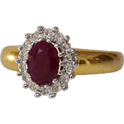 Ruby Diamond Engagement Ring | 8K Bicolor Gold | Vintage Cocktail Oval