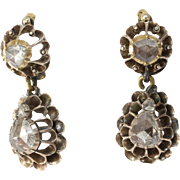 Georgian Diamond Drop Earrings | 9K Yellow Gold | Antique Rose Cut