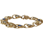 Multi Gem Gold Bracelet | 14K Sapphire Aquamarine | Blue Yellow