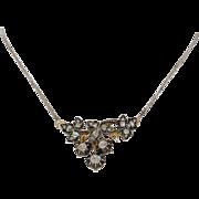 Georgian Diamond Pendant Necklace   18K Gold Silver   Antique Victorian