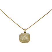 Yellow Diamond Pendant Necklace | 18K Gold Fancy | Vintage Radiant Cut