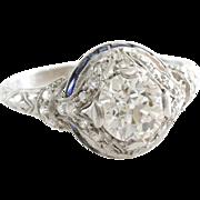Art Deco Diamond Engagement Ring | Platinum Sapphire | Vintage Cocktail