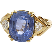 Sapphire Diamond Engagement Ring   18K Yellow Gold   Vintage Blue Oval