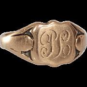 Victorian Monogram Ring   9K Rose Gold   Antique England Signet PL