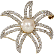 White Pearl Starfish Brooch | 14K Gold Diamond | Vintage Pin Sea Star