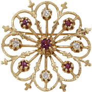 Retro Ruby Diamond Brooch | 14K 10K Yellow Gold | Vintage Round Pin USA