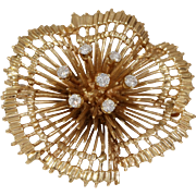 Retro Diamond Gold Brooch | 14K 10K Yellow | Vintage Round Pin USA