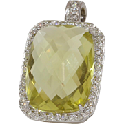 Yellow Topaz Diamond Pendant | 18K White Gold | Vintage Rectangle USA
