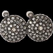 Victorian Diamond Earrings   14K Yellow Gold Silver   Russian Antique