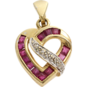 Diamond Ruby Heart Pendant | 14K Yellow White Gold | Vintage Bicolor