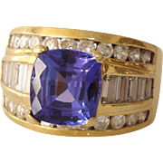 Tanzanite Diamond Cocktail Ring | 18K Yellow Gold | Vintage Cushion