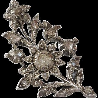 Georgian Diamond Flower Brooch | Sterling Silver Pin | Antique Rose