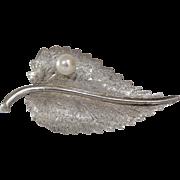 White Gold Leaf Brooch | 14K Cultured Pearl | Vintage Pin Israel