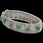 Edwardian Emerald Diamond Bracelet | Platinum Antique French | Carved