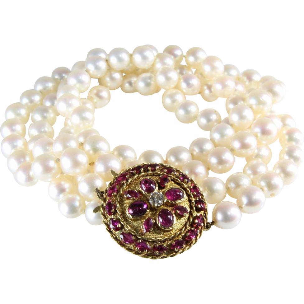 deco pearl necklace ruby 18k gold vintage cultured from thegryphonsnest on ruby