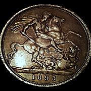 1893 Queen Victoria Silver Crown   Antique Coin   England Dragon