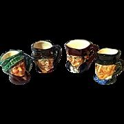 Four Tiny Character Jugs   Royal Doulton England   Toby Jug Tinies