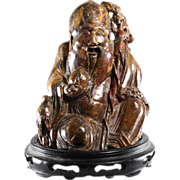 Shou Statue Qing Dynasty | Brown Soapstone | Antique Ching China