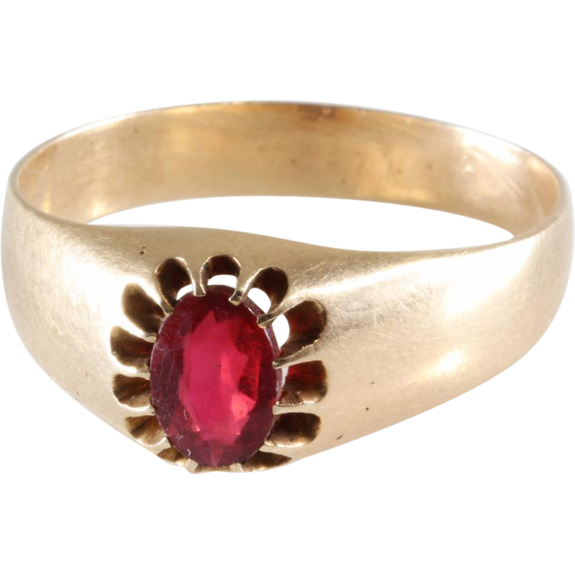 Mens Ruby Ring 14K Gold Oval Cut Antique Russia Solitaire from