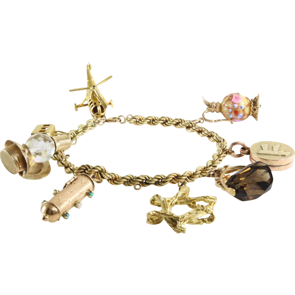 Vintage 14k Gold Charm Bracelet: Retro Gold Charm Bracelet