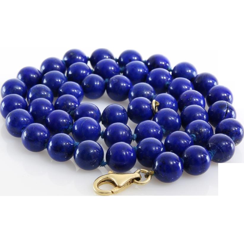 Lapis Lazuli Bead Necklace | 14K Yellow Gold | Vintage Blue Beaded
