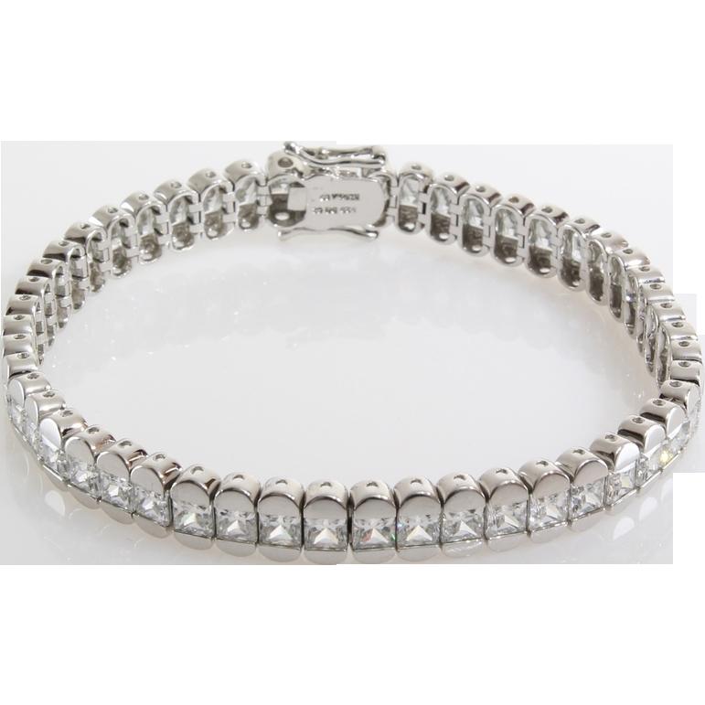 sterling silver tennis bracelet cubic zirconia diamond. Black Bedroom Furniture Sets. Home Design Ideas