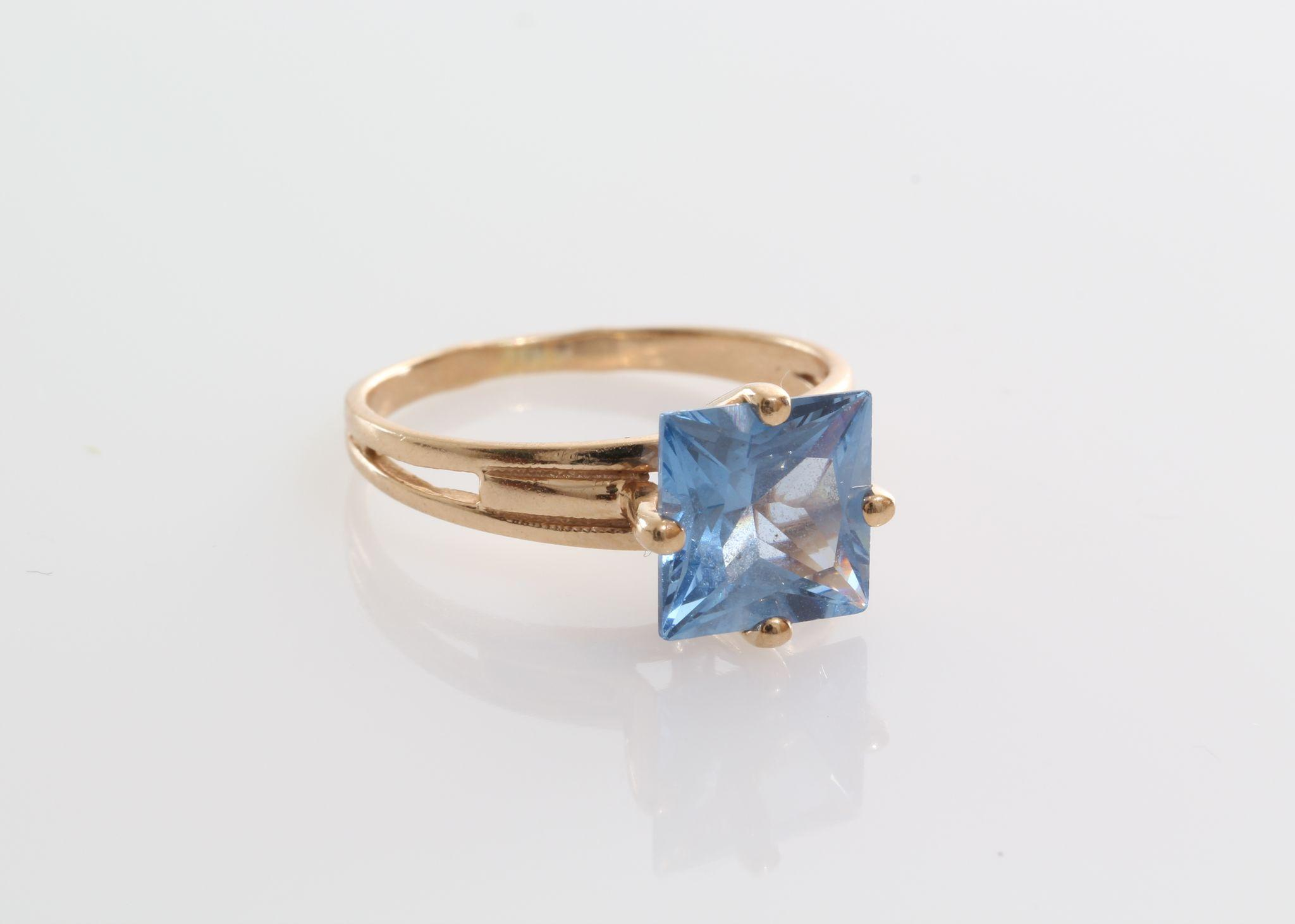 Russian Blue Topaz Ring Sky Blue 14K Yellow Gold
