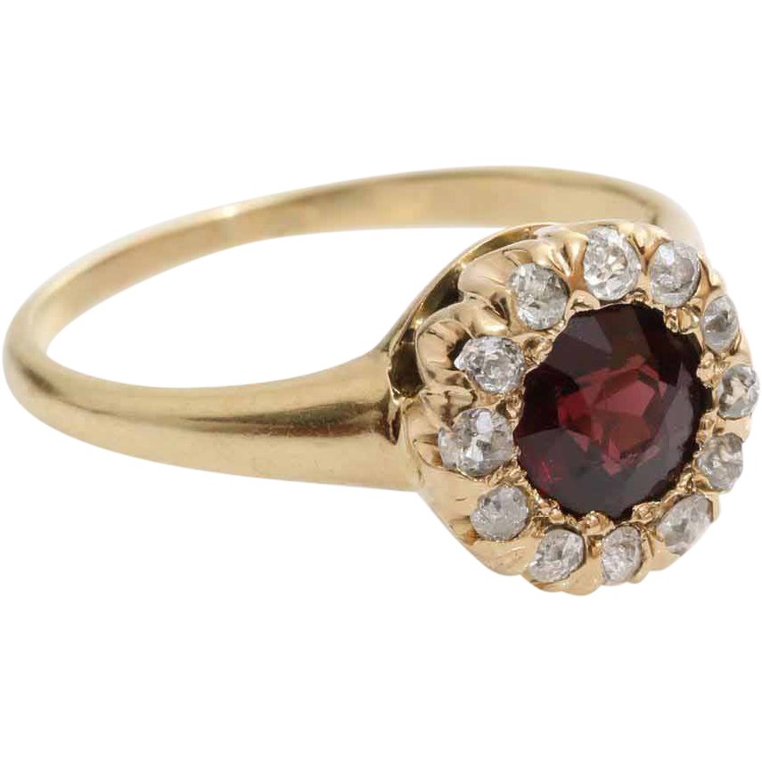 garnet ring 14k yellow gold
