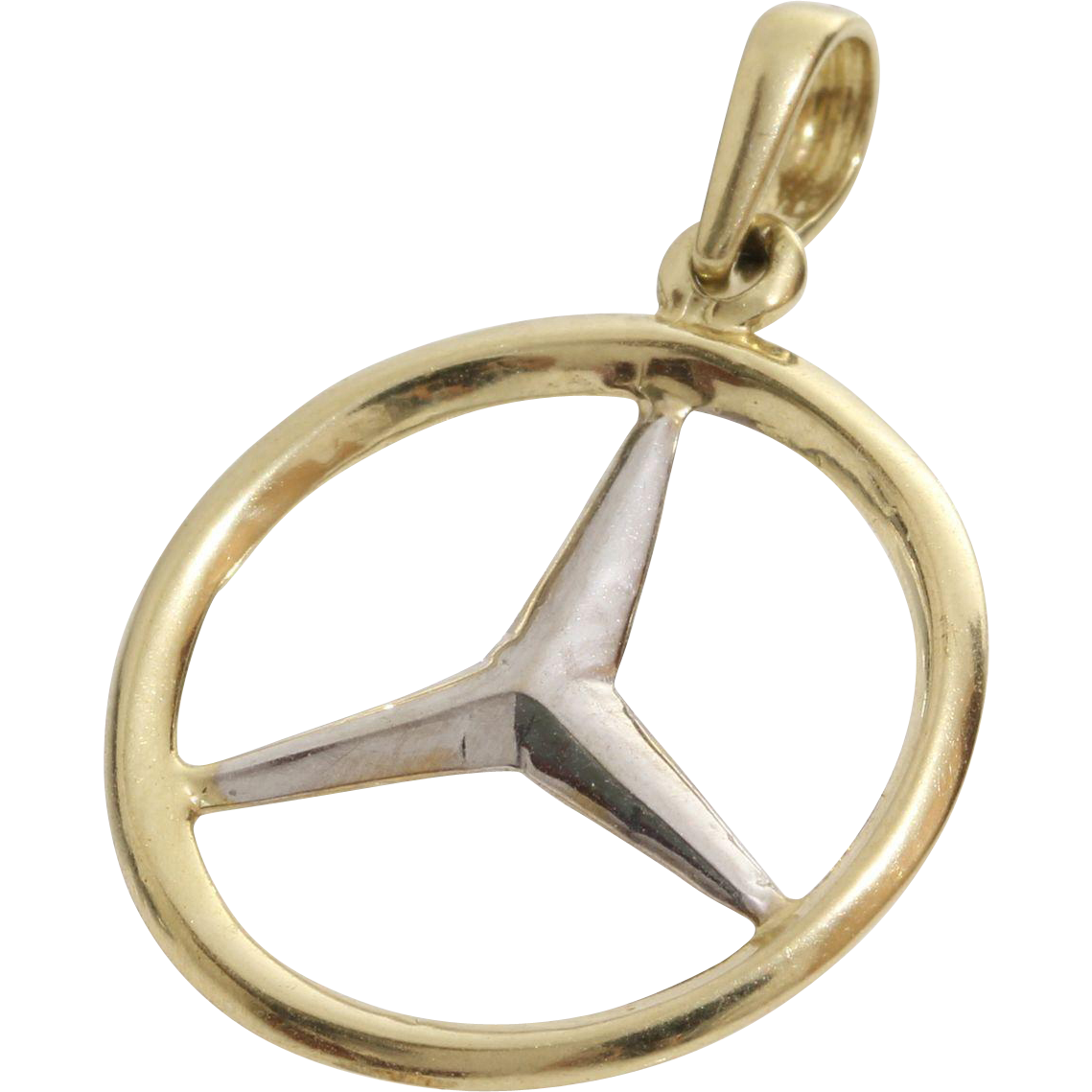 Mercedes benz pendant charm 14k yellow white gold for Mercedes benz charm