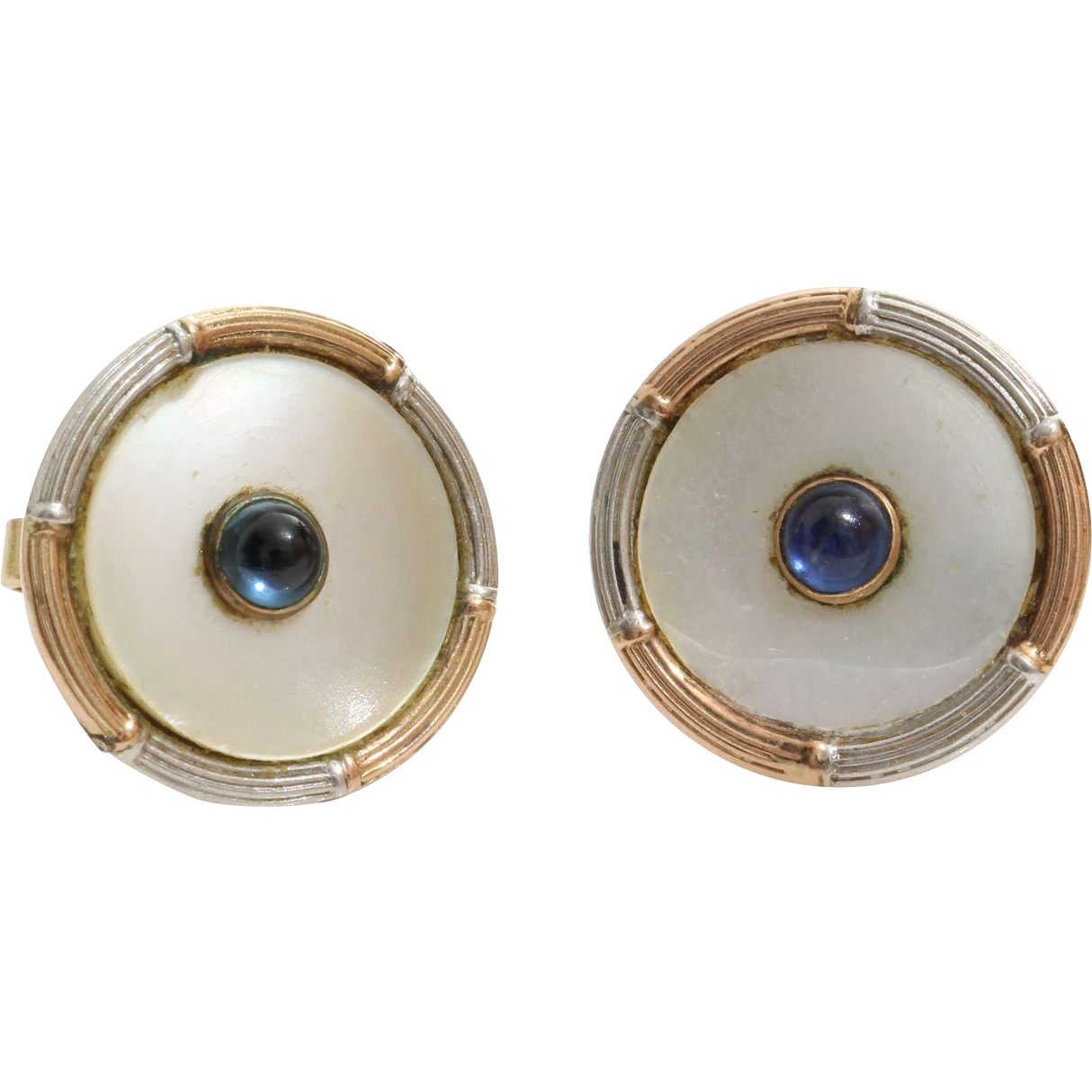 Mother Of Pearl Stud Earrings  9k Rose White Gold  Sapphire Vintage