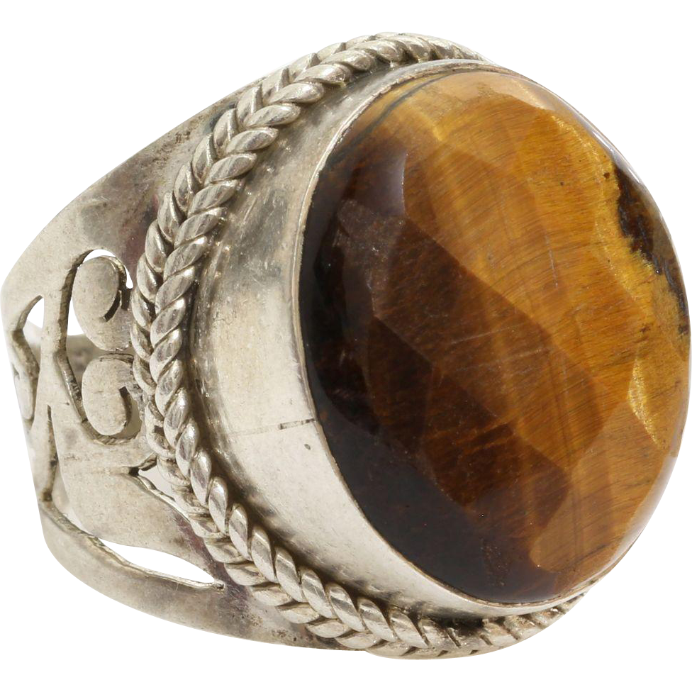 tiger eye cocktail ring sterling silver solitaire
