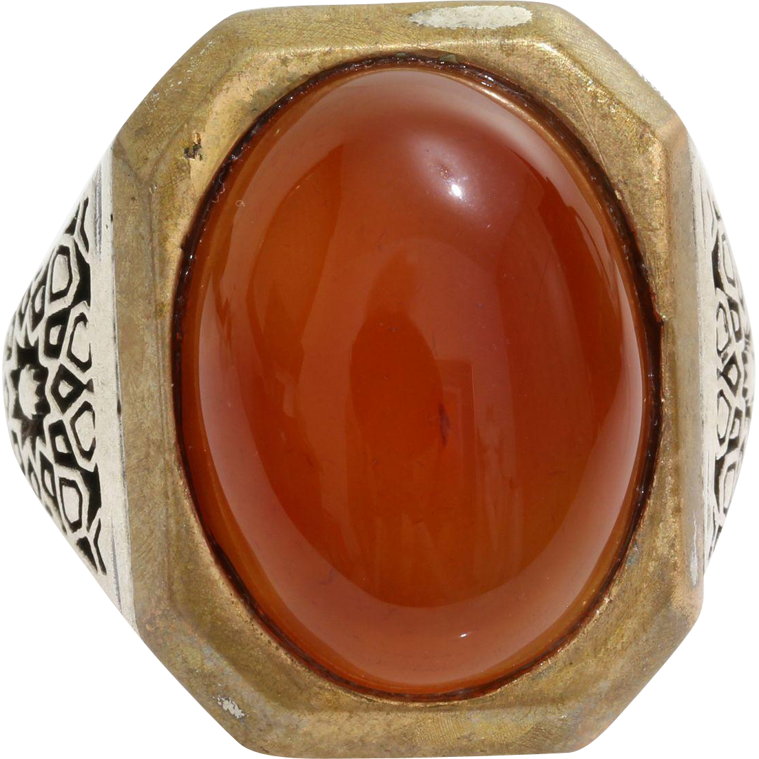 cabochon carnelian mens ring sterling silver solitaire