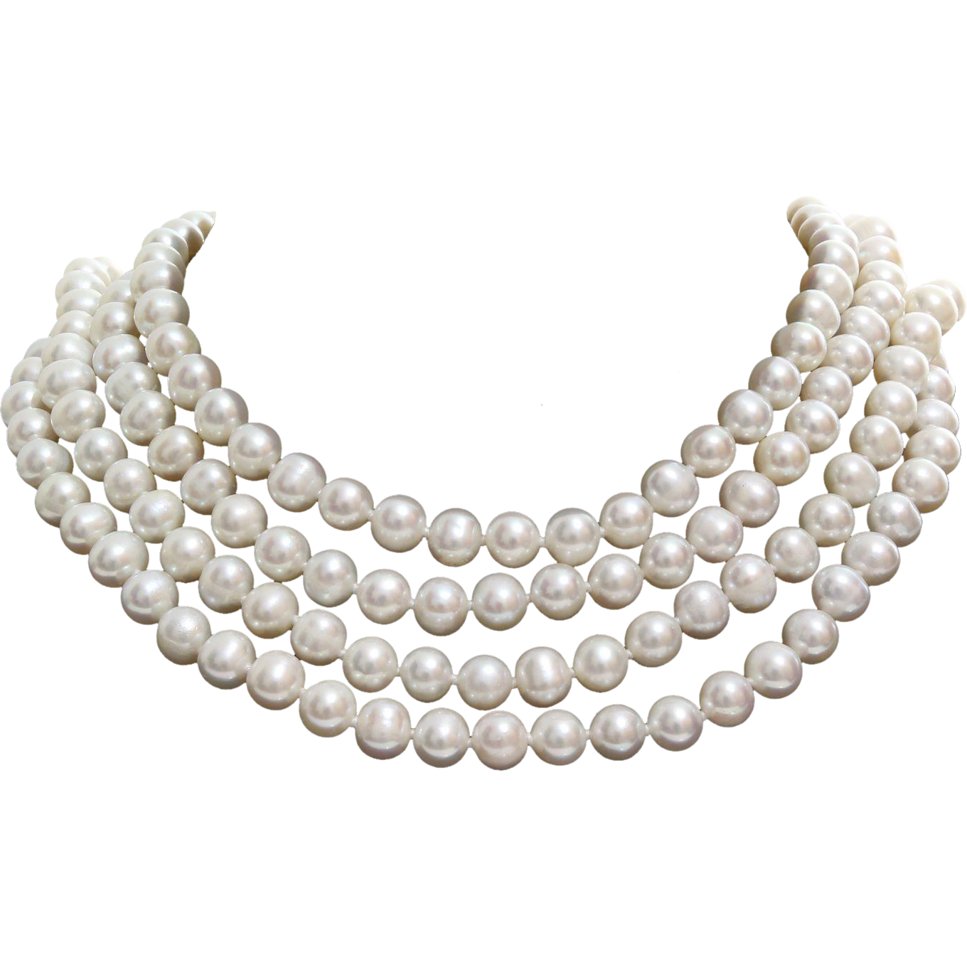 Vintage Pearl Necklace Rope Lariat Length Cultured