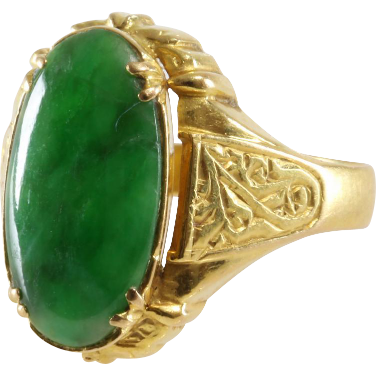 Antique Jade Ring 20K Yellow Gold