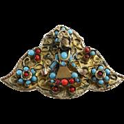 Tibetan Pendant Brooch | Turquoise Coral Buddha | Vintage Amulet Pin