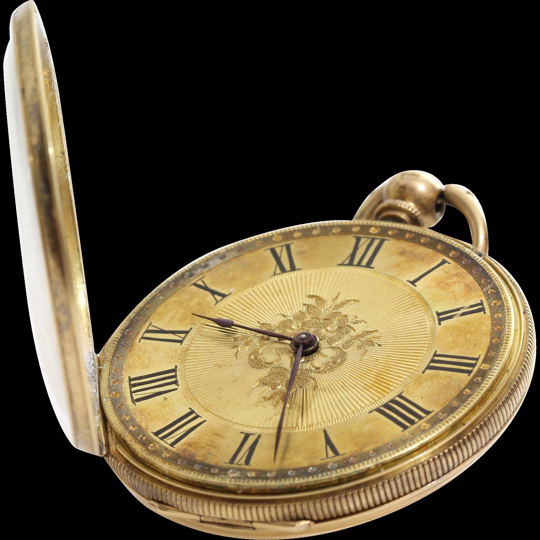 antique gold pocket 18k open key wind