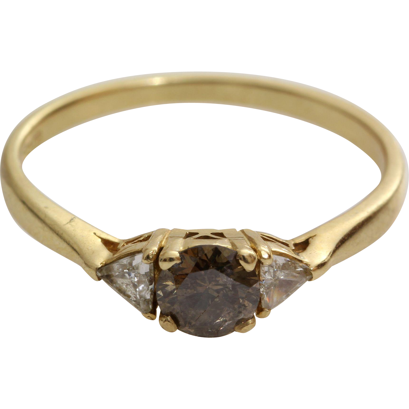 Brown Diamond Engagement Ring  18k Gold Chocolate  Vintage Champagne