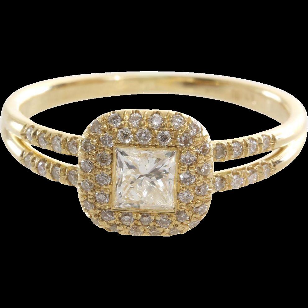 Diamond Halo Engagement Ring  18k Yellow Gold  Vintage Princess Cut
