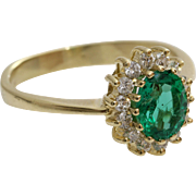 Emerald Diamond Halo Ring | 14K Yellow Gold | Vintage Engagement Oval