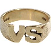 VS Initial Ring | 9 Karat Yellow Gold | Vintage Mens England Gents