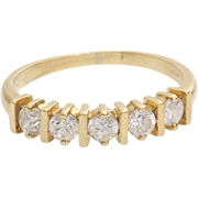 Five Stone Cubic Zirconia Ring   14K Yellow Gold   Engagement Vintage