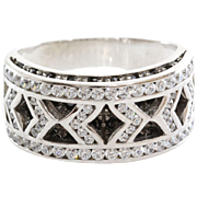 White Gold Cocktail Ring   18K Cubic Zirconia   Vintage Italy Black