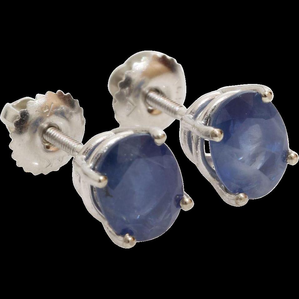 blue sapphire stud earrings 14k white gold vintage. Black Bedroom Furniture Sets. Home Design Ideas
