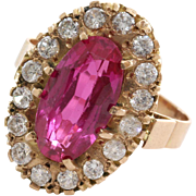 Pink Topaz Cocktail Ring   14K Yellow Gold   Vintage Cubic Zirconia