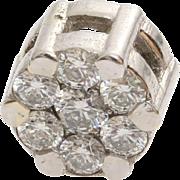 Diamond White Gold Pendant   14K Brilliant Cut   Vintage Israel Round