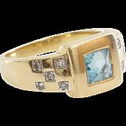 Aquamarine Diamond Ring   8K Yellow Gold   Vintage Square Cut Cocktail