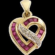 Diamond Ruby Heart Pendant   14K Yellow White Gold   Vintage Bicolor