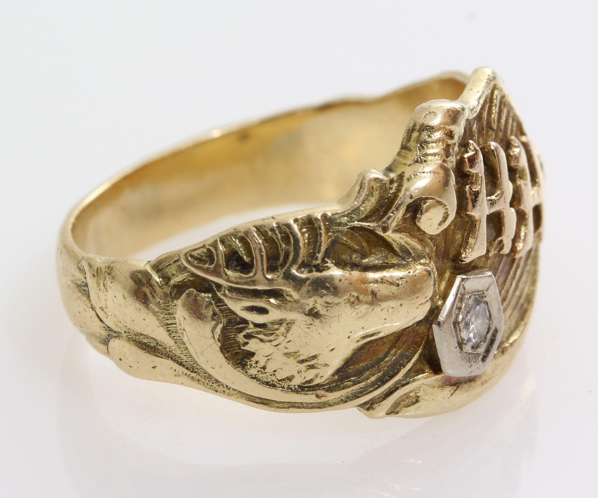 Mens Diamond Signet Ring 14k Gold Hh Initial Art Deco