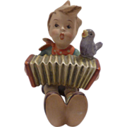 "Hummel Figurine ""Boy Playing Accordian,Blue Bird"""