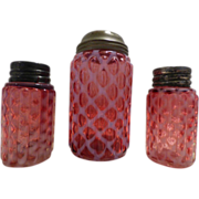 Cranberry Diamond Optic Sugar Shaker and Salt & Pepper